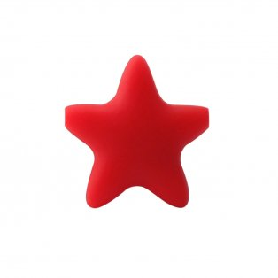 Silikonový korálek - červený - hvězda - 37 x 37 x 10,5 mm - 1 ks