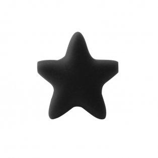 Silikonový korálek - černý - hvězda - 37 x 37 x 10,5 mm - 1 ks