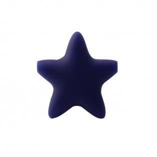 Silikonový korálek - tmavě modrý - hvězda - 37 x 37 x 10,5 mm - 1 ks