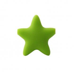 Silikonový korálek - zelený - hvězda - 37 x  37 x 10,5 mm - 1 ks