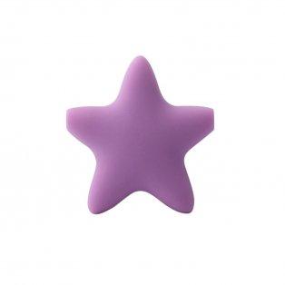 Silikonový korálek - fialový - hvězda - 37 x 37 x 10,5 mm - 1 ks