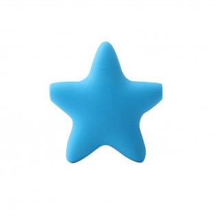Silikonový korálek - modrý - hvězda - 37 x 37 x 10,5 mm - 1 ks