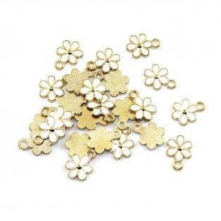 Květina - 15 x 11 x 1,5 mm - bílá - 1 ks