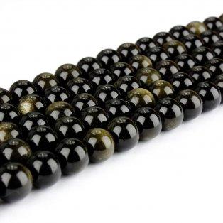 Přírodní zlatý obsidián - ∅ 8 mm - 1 ks