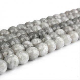 Přírodní bílý nefrit - broušený - šedý - ∅ 8 mm - 1 ks