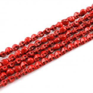 Lebka ze syntetického tyrkysu - červená - 9 x 7 mm - 1 ks