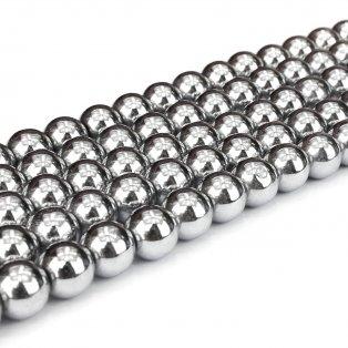 Syntetický hematit - magnetický - platinový - ∅ 10 mm - 1 ks