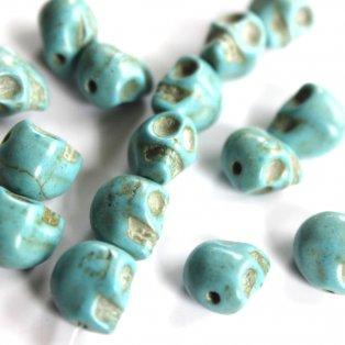 Lebka ze syntetického tyrkysu - tyrkysová - 8 x 6 x 7 mm  - 1 ks