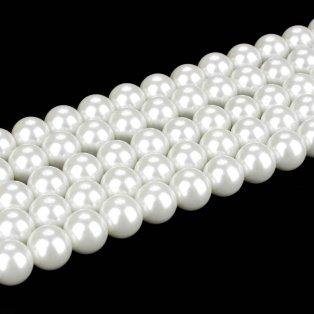 Voskované perly - bílé - ∅ 8 mm - 10 ks
