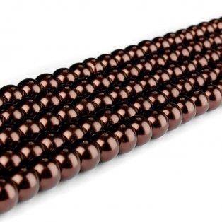 Voskované perly - čokoládové - Ø 8 mm - 10 ks