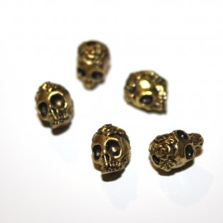 Lebka - zlatá - 9 x 7 x 8 mm - 1 ks