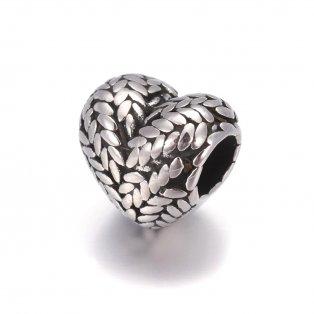 Korálek z nerezové oceli - starostříbrný - srdce - 11 x 12 x 8,5 mm  - 1 ks