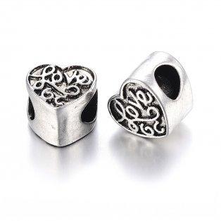 """Korálek z nerezové oceli - srdce - """"love"""" - starostříbrný - 10 x 10,5 x 8 mm  - 1 ks"""