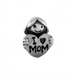 """Korálek z nerezové oceli - žena se srdíčkem - """"i  ♥ mom"""" - starostříbrný - 15 x 12 x 7,5 mm  - 1 ks"""