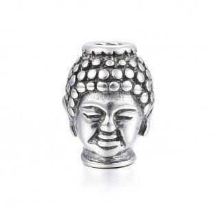 Korálek z nerezové oceli - starostříbrný - Buddha - 13 x 10 x 9 mm  - 1 ks