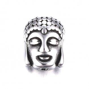 Korálek z nerezové oceli - buddha - starostříbrný - 11,5 x 9 x 6,5 mm  - 1 ks