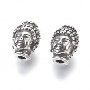 Korálek z nerezové oceli - buddha - starostříbrný - 10 x 13 x 9 mm  - 1 ks