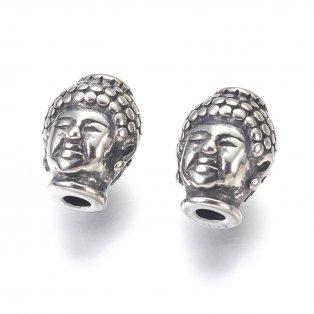 Korálek z nerezové oceli - starostříbrný - Buddha - 10 x 13 x 9 mm  - 1 ks