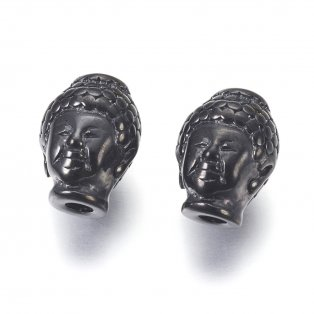 Korálek z nerezové oceli - černý - Buddha - 10 x 13 x 9 mm  - 1 ks