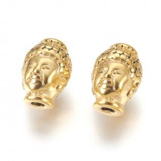Korálek z nerezové oceli - buddha - zlatý - 10 x 13 x 9 mm  - 1 ks