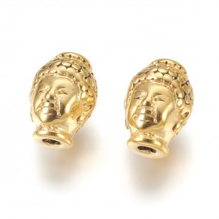 Korálek z nerezové oceli - zlatý - Buddha - 10 x 13 x 9 mm  - 1 ks
