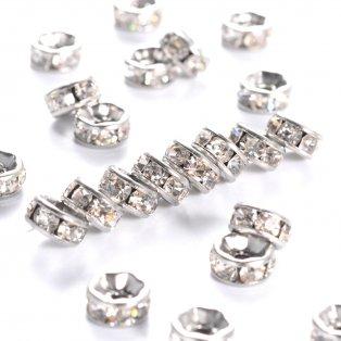 Korálek z nerezové oceli - platinový - rondelka - ∅ 6 x 3 mm - 1 ks