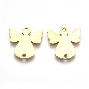 Spojovací mezidíl z nerezové oceli - anděl - zlatý - 15,5 x 15 x 1 mm - 1 ks