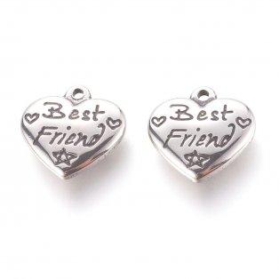 """Přívěsek z nerezové oceli - starostříbrný - srdce s nápisem """"Best Friend"""" - 16 x 16,5 x 4 mm - 1 ks"""