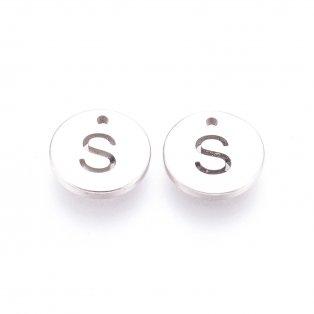 """Přívěsek z nerezové oceli - placička s písmenem - """"S"""" - 10 x 10 x 1 mm - 1 ks"""
