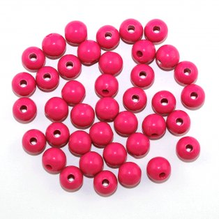 Akrylové korálky - tmavě růžové - ∅ 12 mm - 10 ks