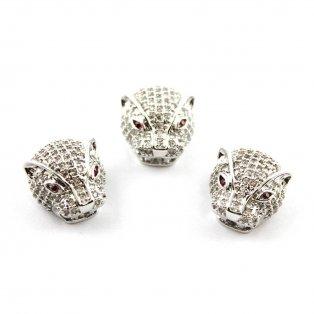 Leopard se zirkony - stříbrný - 14 x 13 x 9 mm - 1 ks