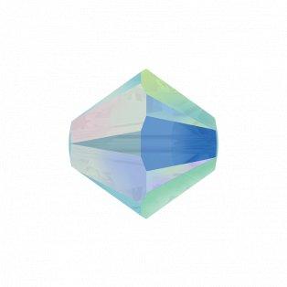 SWAROVSKI 5328 - XILION BEAD - Turquoise Aurore Boreale 2x - ∅ 4 mm - 1 ks