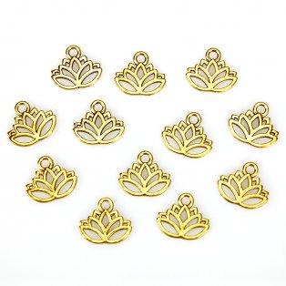 Lotosový květ - zlatý - 15 x 17 x 1 mm - 1 ks
