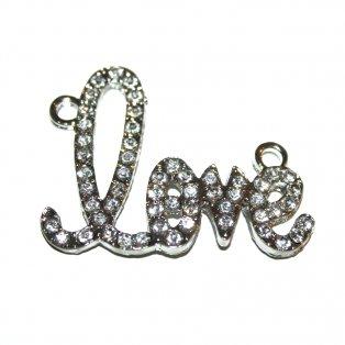 Love - stříbrný - 43 x 32 x 3 mm - 1 ks