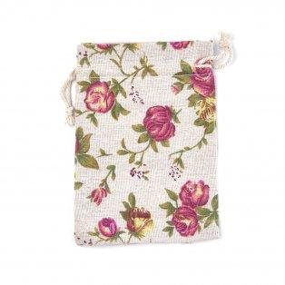 Plátěný pytlíček - s růžemi - režný - 14 x 10 cm - 1 ks