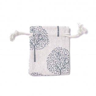 Plátěný pytlíček - režný - stromy - 9 x 7 cm - 1 ks