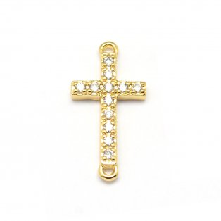 Mosazný mezidíl s kubickými zirkony - zlatý - kříž - 9 x 17 x 2 mm - 1 ks
