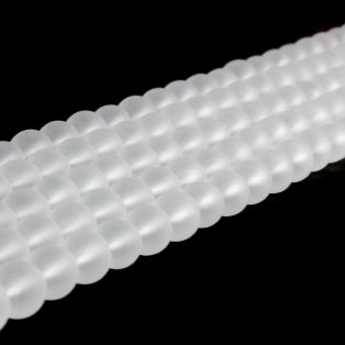 Matné korálky - bílé - ∅ 6 mm - 10 ks