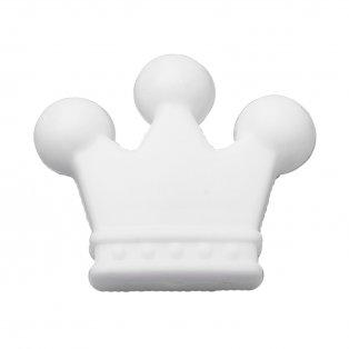 Silikonový korálek - bílý - korunka - 30 x 35 x 10 mm - 1 ks