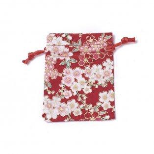 Dárkový pytlíček z pytloviny - červený - motiv květin - 10 x 8 cm - 1 ks