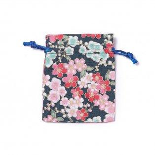 Dárkový pytlíček z pytloviny - tmavě modrý - motiv květin - 10 x 8 cm - 1 ks