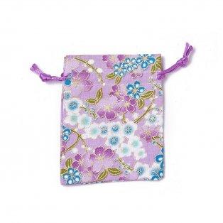 Dárkový pytlíček z pytloviny - světle fialový - motiv květin - 10 x 8 cm - 1 ks