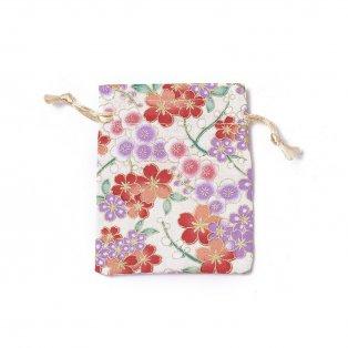 Dárkový pytlíček z pytloviny - béžový - motiv květin - 10 x 8 cm - 1 ks