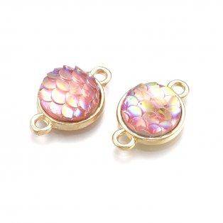 Kovový mezidíl - světle zlatý - placička s šupinkami mořské panny - růžové - AB efekt - 18,5 x 11 x 4,5 mm - 1 ks