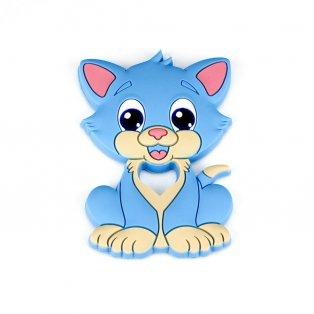 Silikonové kousátko - koťátko - modré - 90 x 64 x 9,5 mm - 1 ks