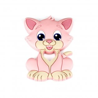 Silikonové kousátko - koťátko - lososově růžové - 90 x 64 x 9,5 mm - 1 ks