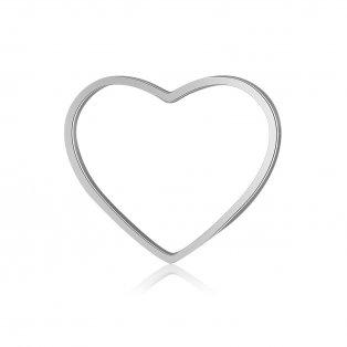 Spojovací mezidíl z nerezové oceli - platinový - srdce - 14 x 17,5 x 1 mm - 1 ks