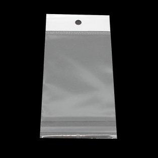 Celofánové sáčky s lepící klopou a otvorem na zavěšení - transparentní - 10 x 7 cm - 10 ks