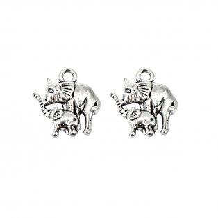 Kovový přívěsek - starostříbrný - slon se slůnětem - 15 x 15 x 2,5 mm - 1 ks