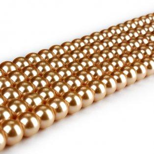 Voskované perly - bronzové - Ø 8 mm - 10 ks